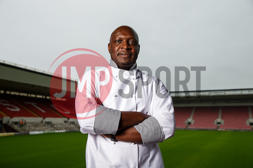 Bristol Sport's new Executive Head Chef at Ashton Gate, George Opondo, poses for a portrait inside the stadium - Photo mandatory by-line: Rogan Thomson/JMP - 07966 386802 - 02/07/2015 - SPORT - Bristol, England - Ashton Gate Stadium.