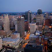 Aerial photo of downtown Kansas City, Missouri buildings and skyline at dusk.