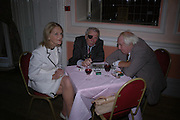 Tessa Mulligan, George Melly and Mick Mulligan.  Book launch of Take A Girl Like Me - Life With George by Diana Melly. The Polish Club. Exhibition Rd. London. 21 July 2005. ONE TIME USE ONLY - DO NOT ARCHIVE  © Copyright Photograph by Dafydd Jones 66 Stockwell Park Rd. London SW9 0DA Tel 020 7733 0108 www.dafjones.com