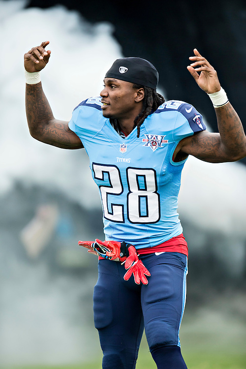 NASHVILLE, TN - SEPTEMBER 29:  Chris Johnson #28 of the Tennessee Titans runs onto the field before a game against the New York Jets at LP Field on September 29, 2013 in Nashville, Tennessee.  The Titans defeated the Jets 38-13.  (Photo by Wesley Hitt/Getty Images) *** Local Caption *** Chris Johnson