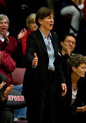 February 20, 2010; Stanford, CA, USA;  Stanford Cardinal head coach Tara VanDerveer during the second half against the Oregon St. Beavers at Maples Pavilion.  Stanford defeated Oregon State 82-48.