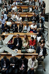 September 16, 2016 - Delegates attend the session : Google Hangout, Privacy vs Security, in the context of the fourth annual Athens Democracy Forum. During the session  Edward Snowden, former US intelligence officer and whistleblower, spoke via video link, at the National Library of Greece, on September 16, 2016, (Credit Image: © Panayiotis Tzamaros/NurPhoto via ZUMA Press)