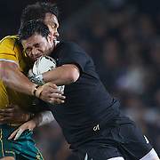 Piri Weepu is tackled by Digby Ioane during the New Zealand V Australia Tri-Nations, Bledisloe Cup match at Eden Park, Auckland. New Zealand. 6th August 2011. Photo Tim Clayton