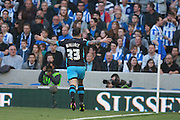 Sheffield Wednesday midfielder Ross Wallace celebrates after making it 1-1 during the Sky Bet Championship play-off second leg match between Brighton and Hove Albion and Sheffield Wednesday at the American Express Community Stadium, Brighton and Hove, England on 16 May 2016. Photo by Bennett Dean.