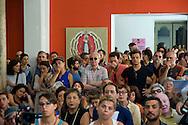 Roma 11 Agosto 2014.<br /> Gli occupanti del Teatro Valle nel giorno della riconsegna dello stabile al Comune di Roma.<br /> Conferenza stampa nel foyer del teatro.<br /> Rome August 11, 2014. <br /> The occupants of the Teatro Valle in the day of delivery of the building to the City of Rome. <br /> The press conference in the foyer.