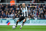 Newcastle United midfielder Jonjo Shelvey (#12) in action during the EFL Sky Bet Championship match between Newcastle United and Barnsley at St. James's Park, Newcastle, England on 7 May 2017. Photo by Craig Doyle.