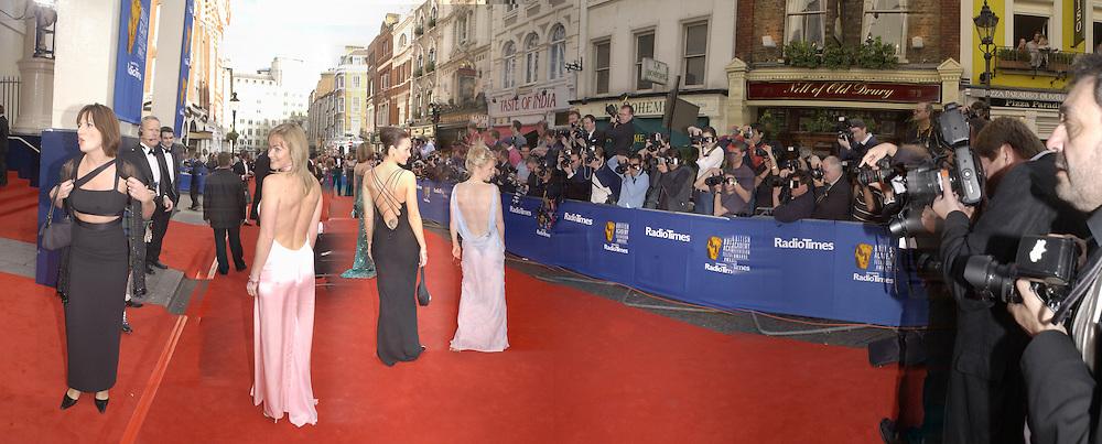 Davina McCall, Terri Dwyer, Samantha Robson,  TV Bafta Awards. 21 April 2002. © Copyright Photograph by Dafydd Jones 66 Stockwell Park Rd. London SW9 0DA Tel 020 7733 0108 www.dafjones.com