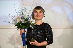Tanja Glusic celebrates during Slovenian Disabled Sports personality of the year 2018 event, on December 11, 2018 in Austria Trend Hotel, Ljubljana, Slovenia. Photo by Vid Ponikvar / Sportida
