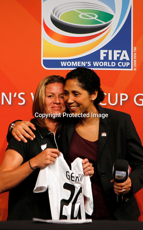 Maia Jackman is presented with a Germany playing shirt from Steffi Jones. FIFA Women's World Cup 2011 Official Countdown, Crowne Plaza Hotel, Auckland, Friday 10th December 2010. Photo: Shane Wenzlick
