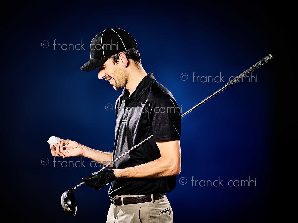 one caucasian  man golfer golfing isolated