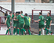 Chris Geddes is congratulated after firing Stirling University  into the lead with a fantastic strike from outside the box  - Arbroath v Stirling University FC, William Hill Scottish Cup Second Round at Gayfield, Arbroath. Photo: David Young<br /> <br />  - &copy; David Young - www.davidyoungphoto.co.uk - email: davidyoungphoto@gmail.com