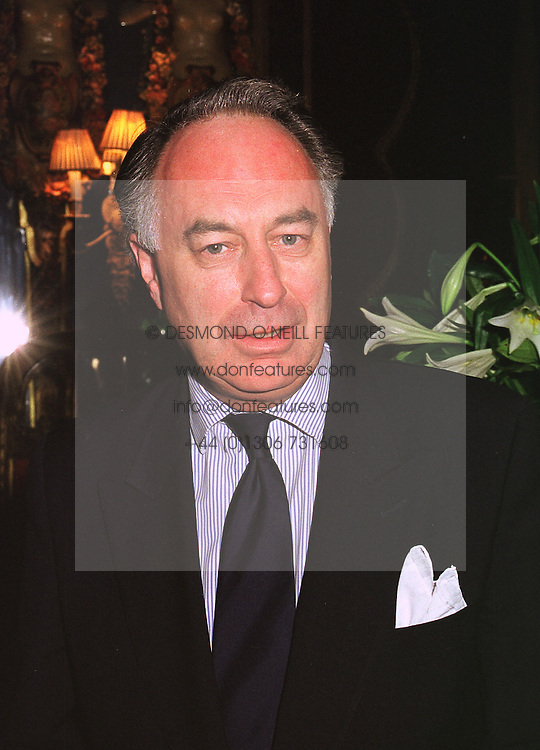 MR JOHN BOWES-LYON a relative of HM The Queen Mother, at a party in London on 9th December 1998.MMU 129