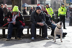 © Licensed to London News Pictures . 28/02/2015 . Newcastle , UK . Hundreds attend the first Pegida demonstration in the UK , at the Bigg Market in Newcastle . Photo credit : Joel Goodman/LNP