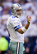 DALLAS, TX - JANUARY 13:   Tony Romo #9 of the Dallas Cowboys shows the distance they are short of a first down against the New York Giants during the NFC Divisional playoff at Texas Stadium on January 13, 2008 in Dallas, Texas.  The Giants defeated the Cowboys 21-17.(Photo by Wesley Hitt/Getty Images) *** Local Caption *** Tony Romo