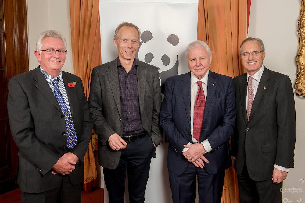 Keith Scholey, Johan Rockstrom, Sir David Attenborough and Sir Andrew Cahn at the Inaugural WWF Living Planet Lecture at The Royal Society, London. 3/11/2016