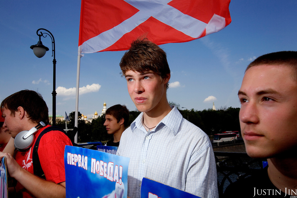 Nashi members, an organisation of youth activists said to be bankrolled by the Kremlim, gather near the European Commission building in Moscow to protest the arrest of one of its members in Estonia following the uproar over Estonia's relocation of a Soviet statue. .