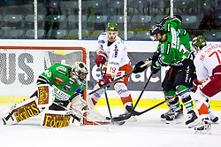 23.10.2014, Hala Tivoli, Ljubljana, SLO, EBEL, HDD Telemach Olimpija Ljubljana vs HC Bolzano Südtirol, 13. Runde, in picture Rick Schofield (HC Bolzano Sudtirol, #19) vs Andy Chiodo (HDD Telemach Olimpija, #40) covers a puck during the Erste Bank Icehockey League 13. Round between HDD Telemach Olimpija Ljubljana and  HC Bolzano Südtirol at the Hala Tivoli, Ljubljana, Slovenia on 2014/10/23. Photo by Matic Klansek Velej / Sportida