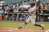 PHOENIX, AZ - APRIL 27:  Yangervis Solarte #26 of the San Diego Padres hits an RBI single in the first inning against the Arizona Diamondbacks at Chase Field on April 27, 2017 in Phoenix, Arizona.  (Photo by Jennifer Stewart/Getty Images)