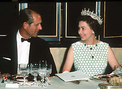 Duke of Edinburgh and Queen Elizabeth ll at a State banquet in the Virgin Islands, during the Silver Jubilee tour of the Caribbean.