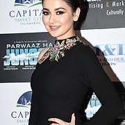 "Hania Amir attend Photocall in London Premiere of ""Parwaaz Hai Junoon"" (Soaring Passion) as featured on SKY, ITV at The May Fair Hotel, Stratton Street, London, UK. 22 August 2018."