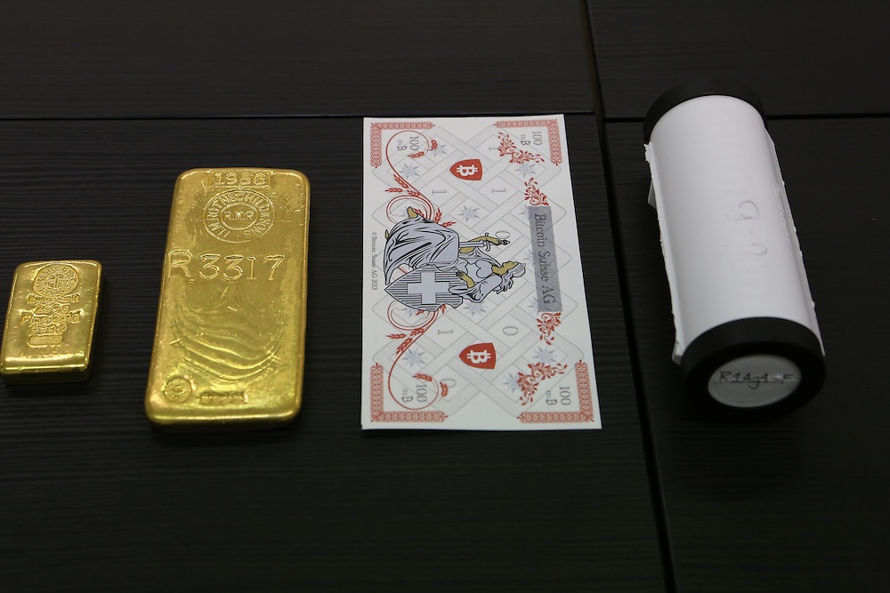 Gold bars at Bitcoin Suisse AG, Baar, Canton of Zug, Switzerland