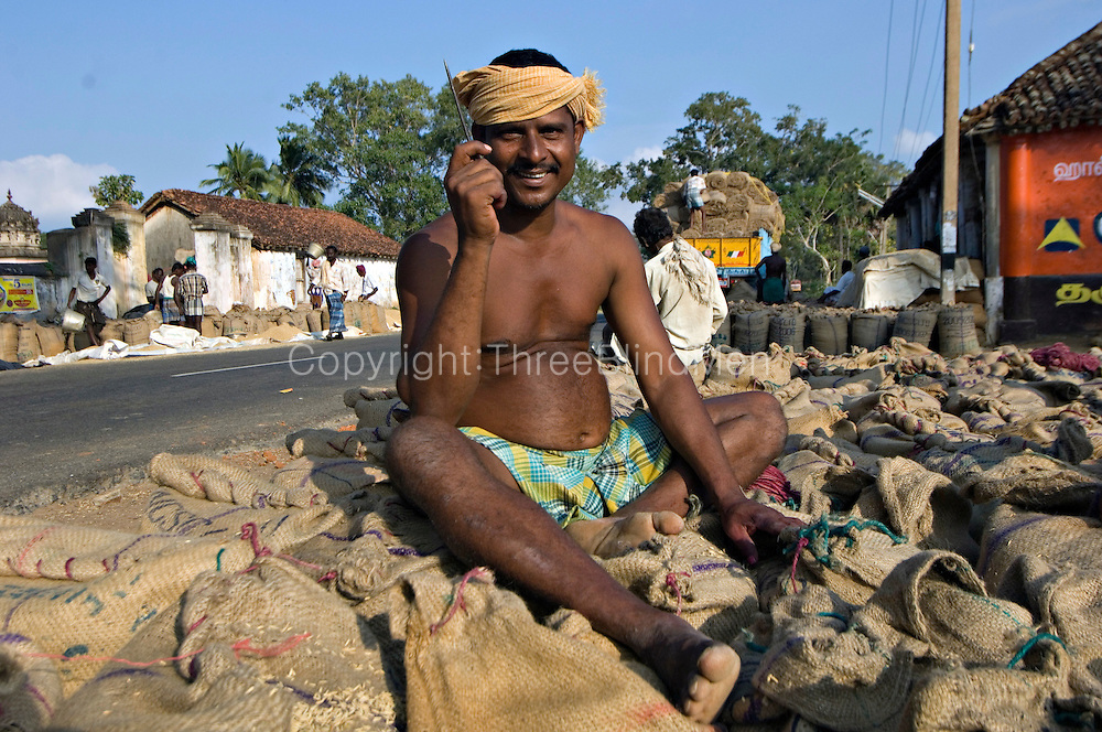 India. Preparing rice for packing and transport.