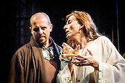 The Royal Shakespeare Company presents Richard II, starring David Tennant as Richard.  Richard II is the first production in a new cycle of Shakespeare's History plays, directed by RSC Artistic Director Gregory Doran, to be performed over the coming seasons. Performed at the RSC in Stratford, and then the Barbican Theatre, London. Picture features Nigel Lindsey (Bolingbroke, Henry IV) & David Tennant (Richard).