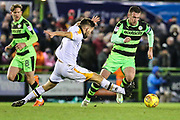 Forest Green Rovers Lee Collins(5) skips past a tackle by Port Vale's Joe Davis(5) during the EFL Sky Bet League 2 match between Forest Green Rovers and Port Vale at the New Lawn, Forest Green, United Kingdom on 6 January 2018. Photo by Shane Healey.