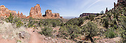 See Independence Monument along Monument Canyon Trail, in Colorado National Monument, near Grand Junction and Fruita, Colorado, USA. This desert land is high on the Colorado Plateau dotted with pinion and juniper forests. This panorama was stitched from 12 overlapping photos.