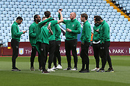 The Norwich players before the Sky Bet Championship match at Villa Park, Birmingham<br /> Picture by Paul Chesterton/Focus Images Ltd +44 7904 640267<br /> 01/04/2017