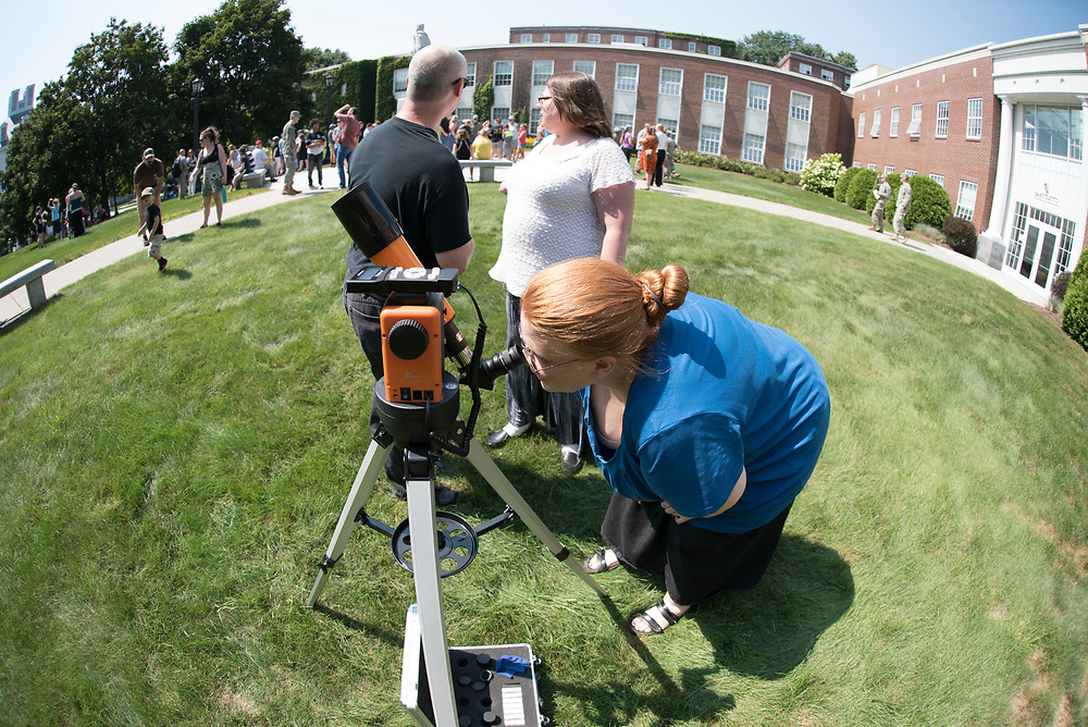 Spectators watch a total solar eclipse