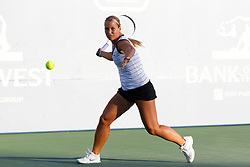 July 25, 2011; Stanford, CA, USA;  Dominika Cibulkova (SVK) returns the ball against Kimiko Date-Krumm (JPN), not pictured, during the Bank of the West Classic women's tennis tournament at the Taube Family Tennis Stadium.