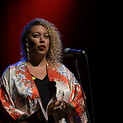Salena Godden, poet and performer, preforms at the Just Say No - Artists Against Trump & War host by Stop the War Coalition, Trump is not welcome in the UK at The Shaw Theatre on 8th July 2018.