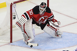 Nov 2; Newark, NJ, USA; New Jersey Devils goalie Martin Brodeur (30) makes a stick save during the second period at the Prudential Center.