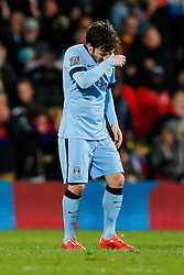 David Silva of Manchester City looks dejected after Crystal Palace win the match 2-1 - Photo mandatory by-line: Rogan Thomson/JMP - 07966 386802 - 06/04/2015 - SPORT - FOOTBALL - London, England - Selhurst Park - Crystal Palace v Manchester City - Barclays Premier League.