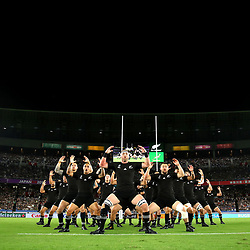YOKOHAMA, JAPAN - SEPTEMBER 21: In this handout image provided by World Rugby New Zealand players perform the Haka prior to the Rugby World Cup 2019 Group B game between New Zealand and South Africa at International Stadium Yokohama on September 21, 2019 in Yokohama, Kanagawa, Japan. (Photo by World Rugby - Handout/World Rugby via Getty Images)