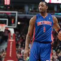 30 October 2010: Detroit Pistons Tracy McGrady brings the ball upcourt during the Chicago Bulls 101-91 victory over the Detroit Pistons at the United Center, in Chicago, Illinois, USA.