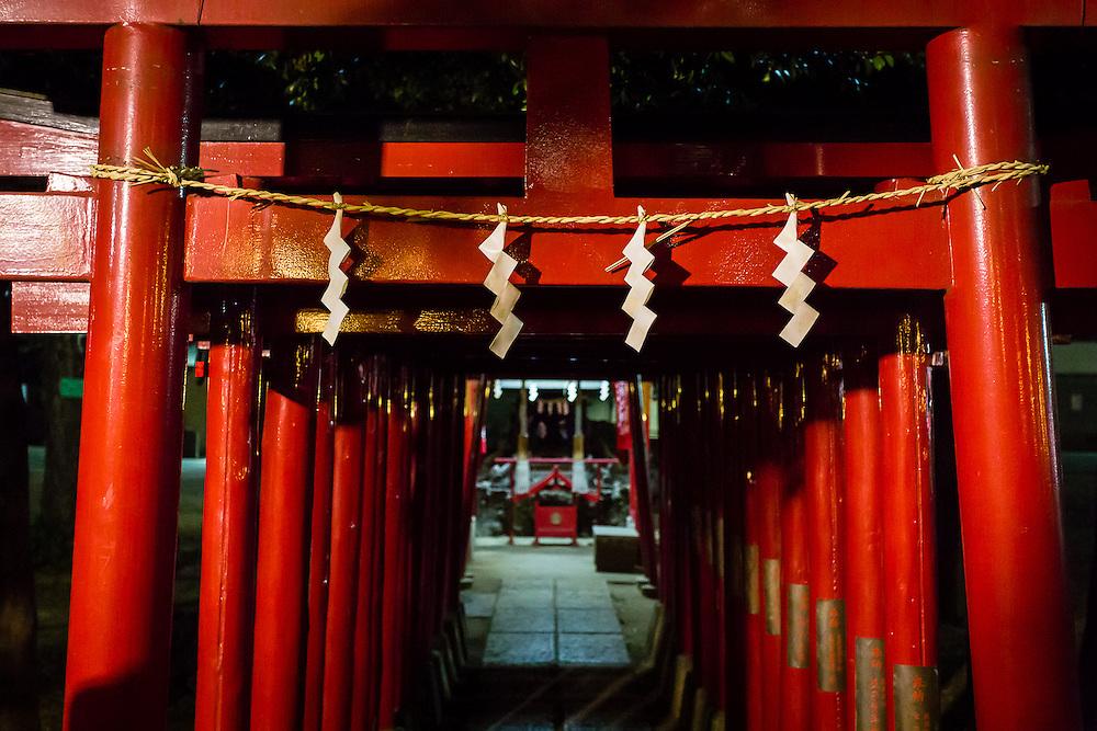 Red tori gates in Hanazono Shrine, Shinjuku, at night