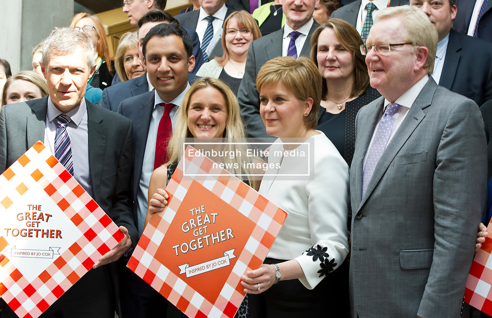 Pictured: Willie Rennie, Anas Sarwar,  Kim Leadbeater, Nicola Sturgeon and Jackson Carlaw<br /> <br /> Kim Leadbeater was in the Scottish Parliament today tol thank all Scotland's party leaders for putting their disagreements to one side and coming together to support stronger communities in memory of her sister, Jo Cox, who was murdered three years ago.<br /> <br /> <br /> Ger Harley | EEm 2 May 2019