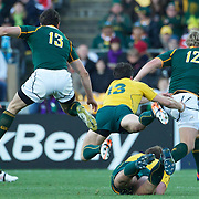 Adam Ashley-Cooper, Australia, fails to hold Jean de Villiers, South Africa, (right) during the South Africa V Australia Quarter Final match at the IRB Rugby World Cup tournament. Wellington Regional Stadium, Wellington, New Zealand, 9th October 2011. Photo Tim Clayton...