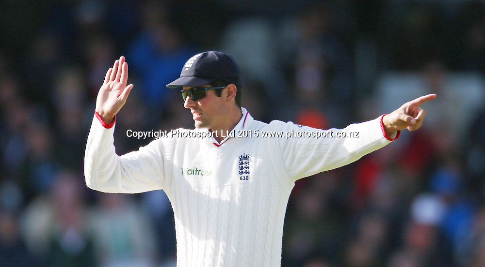 Alastair Cook captains during the second Investec Test Match between England and New Zealand at Headingley, Leeds. Photo: Graham Morris/www.photosport.co.nz
