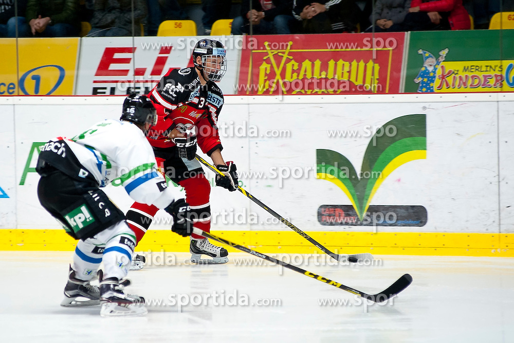 04.10.2015, Ice Rink, Znojmo, CZE, EBEL, HC Orli Znojmo vs HDD TELEMACH Olimpija Ljubljana, 8. Runde, im Bild v.l. Ales Music (HDD TELEMACH Olimpija Ljubljana) Petr Kousalik (HC Orli Znojmo) // during the Erste Bank Icehockey League 8th round match between HC Orli Znojmo and Moser Medical Graz 99ers at the Ice Rink in Znojmo, Czech Republic on 2015/10/04. EXPA Pictures © 2015, PhotoCredit: EXPA/ Rostislav Pfeffer