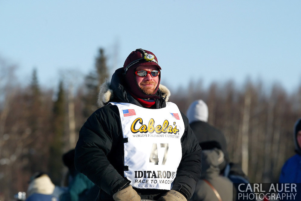 3/4/2007:  Willow, Alaska -  Veteran Aaron Burmeister of Nome/Nenana, AK heads out at the start of the 35th Iditarod Sled Dog Race