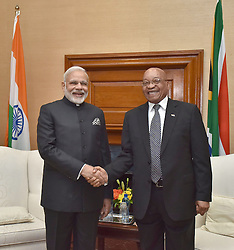 July 8, 2016 - Pretoria, South Africa - Indian Prime Minister Narendra Modi shakes hands with South African President Jacob Zuma before the start of their bilateral meeting at the Union Building July 8, 2016 in Pretoria, South Africa. Modi is on the second leg of a four nation tour of Africa. (Credit Image: © Pib/Planet Pix via ZUMA Wire)