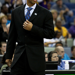 March 30, 2011; New Orleans, LA, USA; New Orleans Hornets head coach Monty Williams against the Portland Trail Blazers during the third quarter at the New Orleans Arena. The Hornets defeated the Trail Blazers 95-91.   Mandatory Credit: Derick E. Hingle