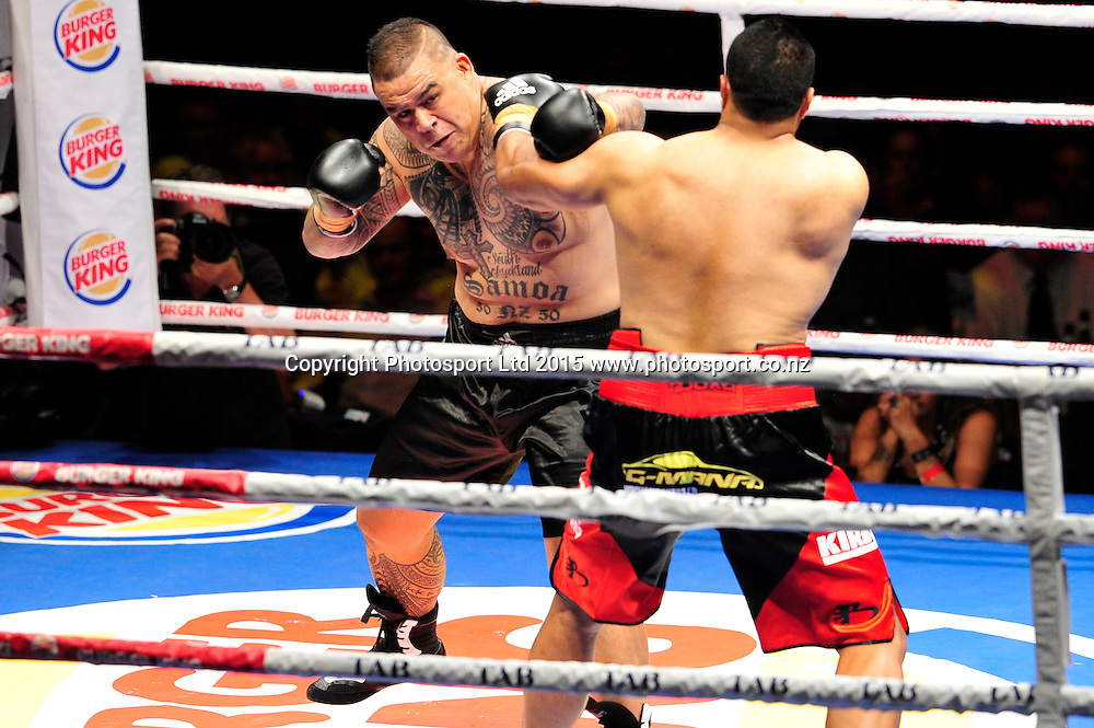 Brown Buttabean left takes out Finau Maka in the first round with a TKO - Burger King Road to the Title - Brown Buttabean v Finau Maka, Vodafone Events Centre, 5 March 2015 copyright photo Chris Hillock/www.photosport.co.nz