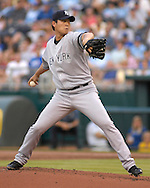 July 24 2007 - Kansas City, MO..New York Yankees pitcher Chien-Ming Wang delivers a pitch in the first inning against the Kansas City Royals at Kauffman Stadium in Kansas City, Missouri on July 24, 2007...MLB:  The Yankees defeated the Royals 9-4.  Photo by Peter G. Aiken / Cal Sport Media
