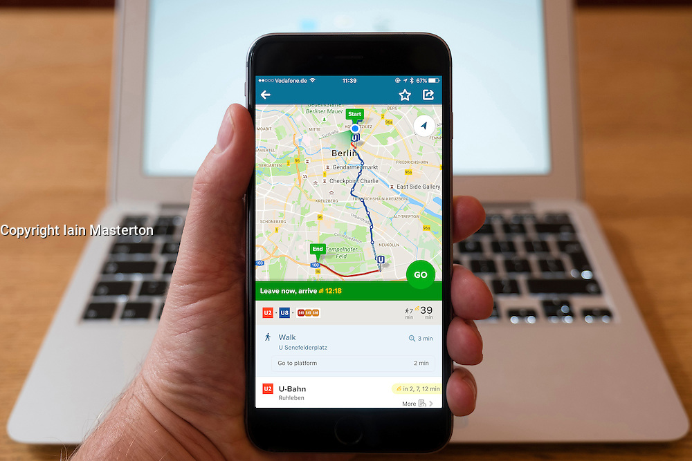 Using iPhone smartphone to display Citymapper route planning app in Berlin