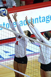 18 November 2016:  Lexi Varga & Jaelyn Keene during an NCAA women's volleyball match between the Northern Iowa Panthers and the Illinois State Redbirds at Redbird Arena in Normal IL (Photo by Alan Look)