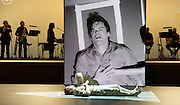 Lazarus <br /> by David Bowie and Enda Walsh<br /> at the Kings Cross Theatre, London, Great Britain <br /> press photocall <br /> 3rd November 2016 <br /> <br />  <br /> Directed by Ivo van Hove and inspired by the novel, The Man Who Fell To Earth, Lazarus focuses on Thomas Newton, as he remains still on Earth - a 'man' unable to die, his head soaked in cheap gin and haunted by a past love. We follow Newton during the course of a few days where the arrival of another lost soul - might set him finally free.<br />  <br /> Michael C Hall as Newton <br /> <br /> <br /> Sophia Anne Caruso as Girl <br /> <br /> Photograph by Elliott Franks <br /> Image licensed to Elliott Franks Photography Services